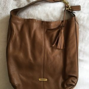 Coach Avery Saddle Brown Pebble Leather Hobo